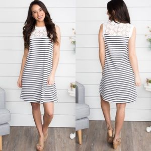 Doe & Rae striped lace navy white dress
